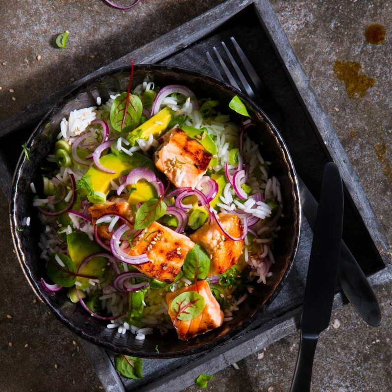 Gemüsepfanne mit Fisch super lecker und gesund