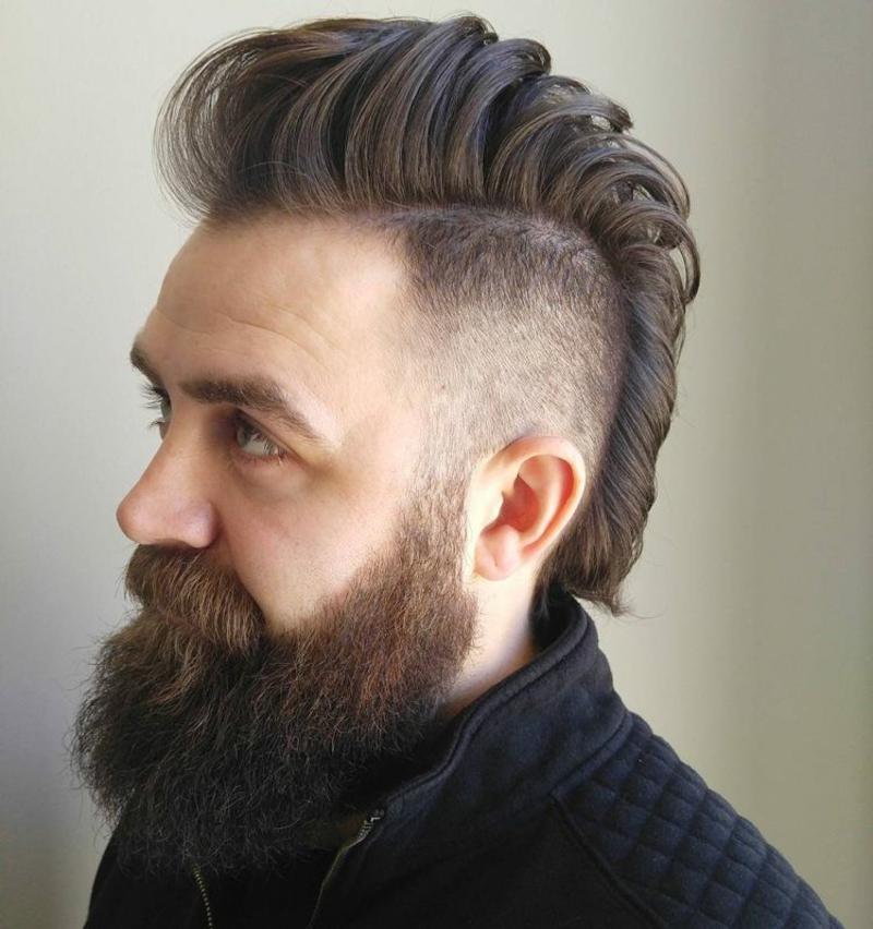 Irokese Männer Frisur langes Deckhaar Bart