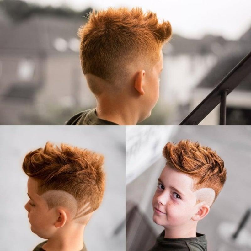 Irokesenschnitt Junge klein Haarfarbe Kupfer