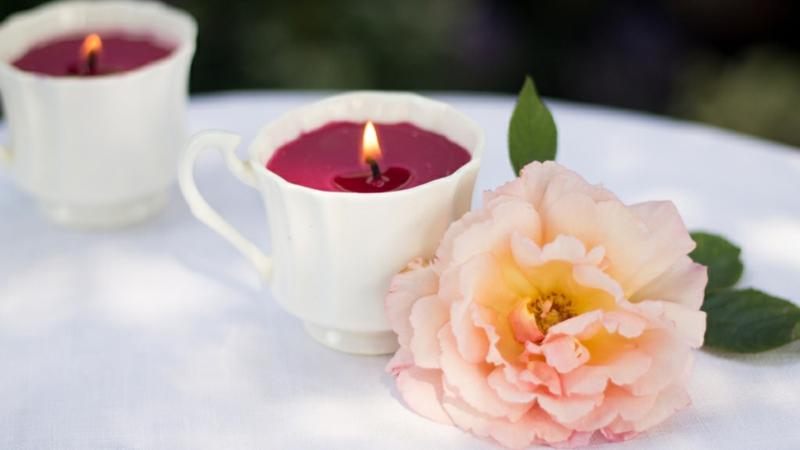 selbstgemachte Kerze Teetasse
