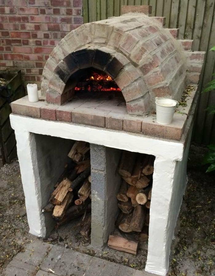 Pizzaofen selber bauen Ablagefläche Holz
