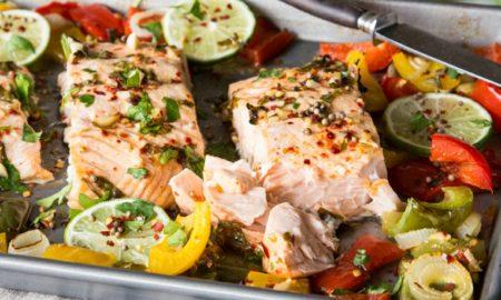 Lachs Rezepte mit Gemüse servieren