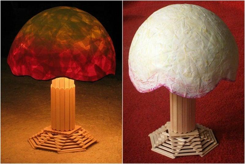herrliche Nachttischlampe Eisstäbchen Pappmache