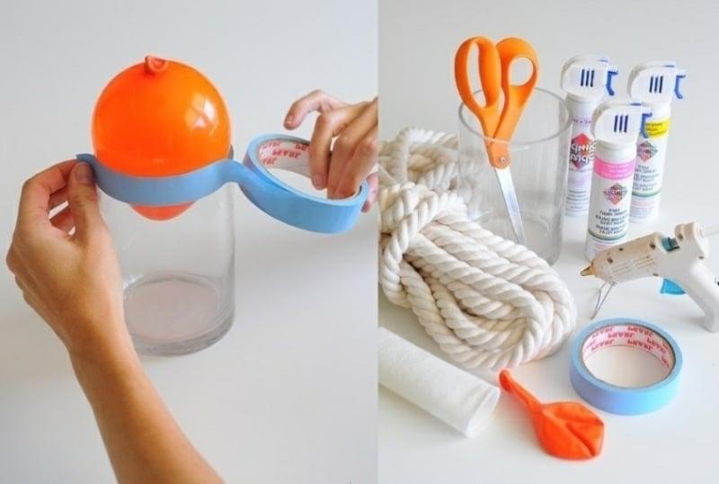 Hängeleuchte basteln Seil Luftballon