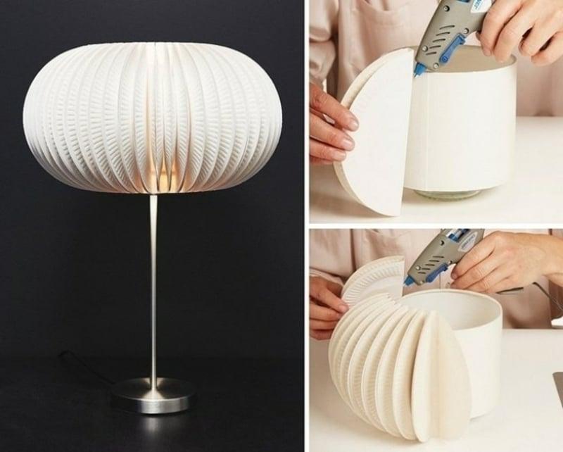 Tischlampe Lampenschirm basteln aus Einwegtellern