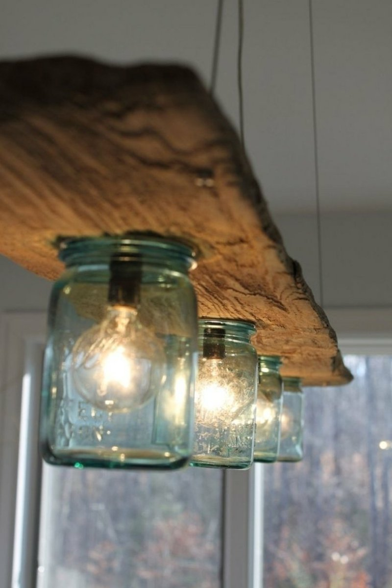 tolle Bastelideen Lampenschirm Gläser Treibholz