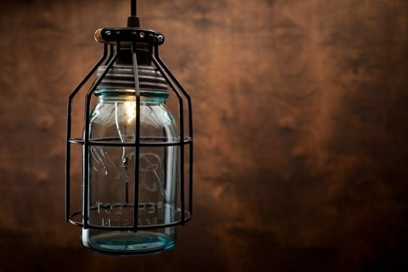 Lampenschirm basteln Draht Einmachglas