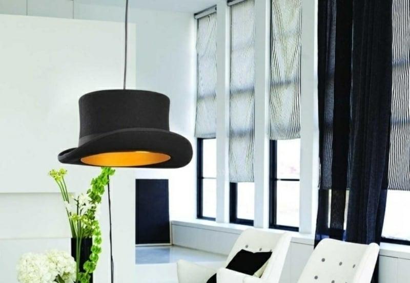 Lampenschirm basteln alter Hut