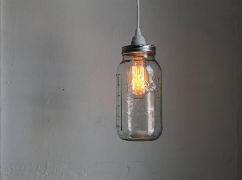 Einmachglas in Lampenschirm verwandeln