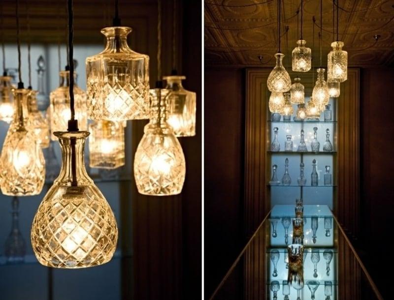 Upcycling Ideen Kristallflaschen Lampenschirm