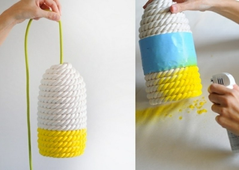 Lampenschirm basteln aus Seil originelle Idee