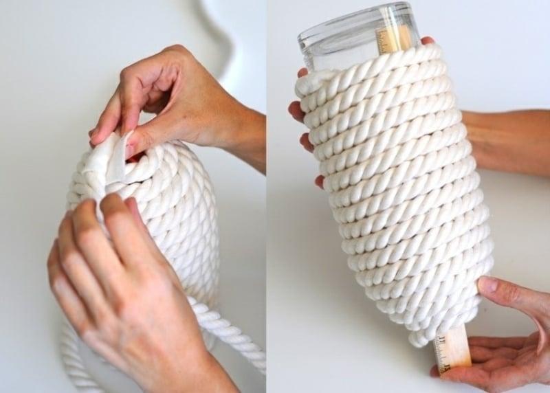 Lampenschirm basteln Seil Flasche umwickeln