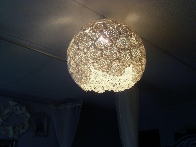 Lampenschirm basteln Spitze herrlicher Look