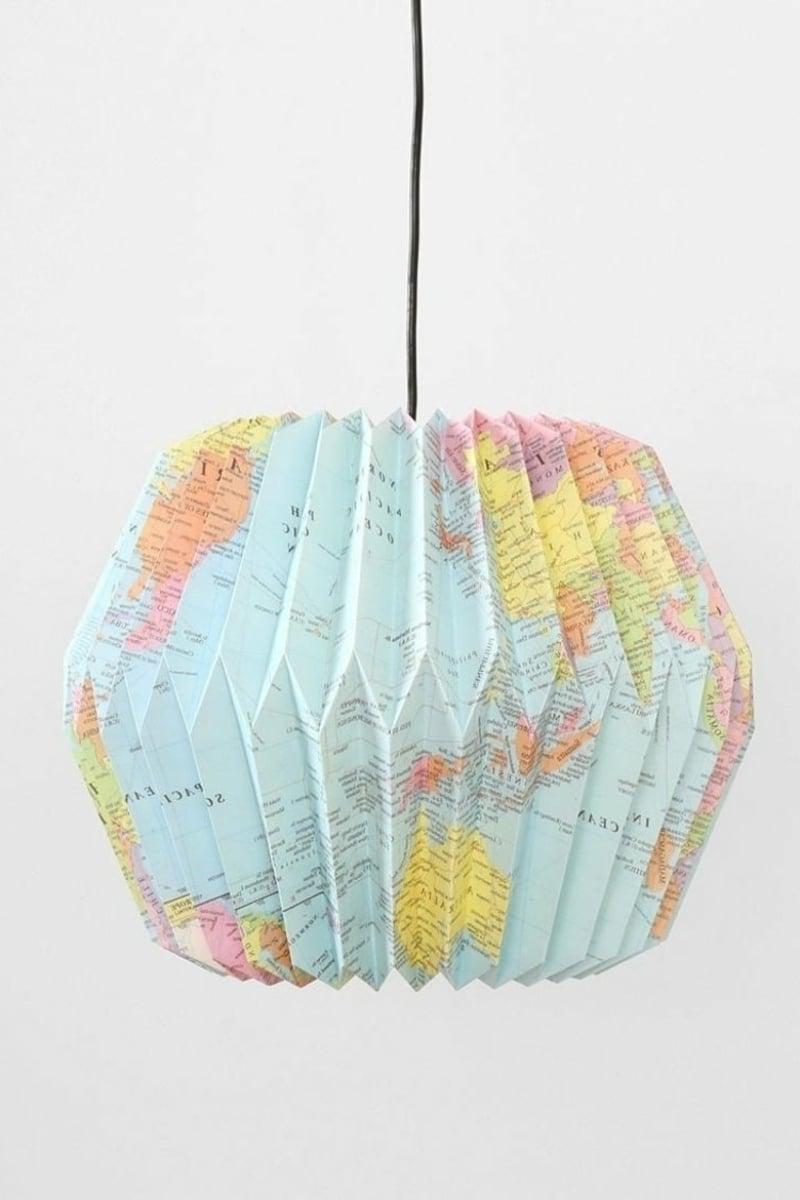 Origami falten Weltkarte Lampenschirm