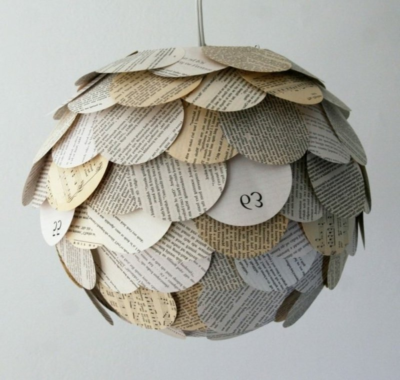 Lampenschirm basteln aus Zeitungspapier