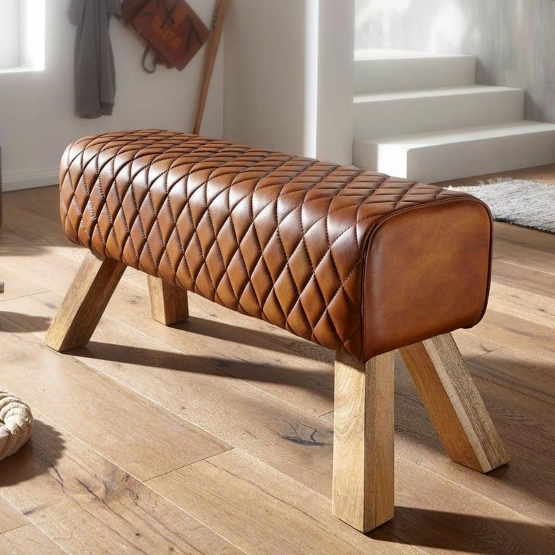 niedrige Sitzbank aus Holz Lederpolsterung