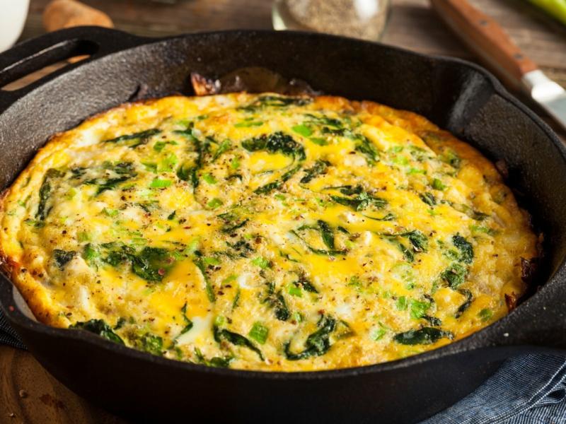 Omelett mit Spinat und Almased machen