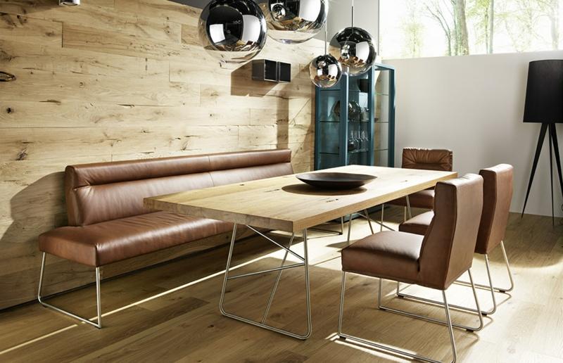 gemütliche Sitzecke Esszimmer Lederbank Stühle