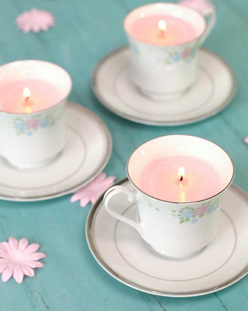 Kerzen selber machen Gießform Teetassen