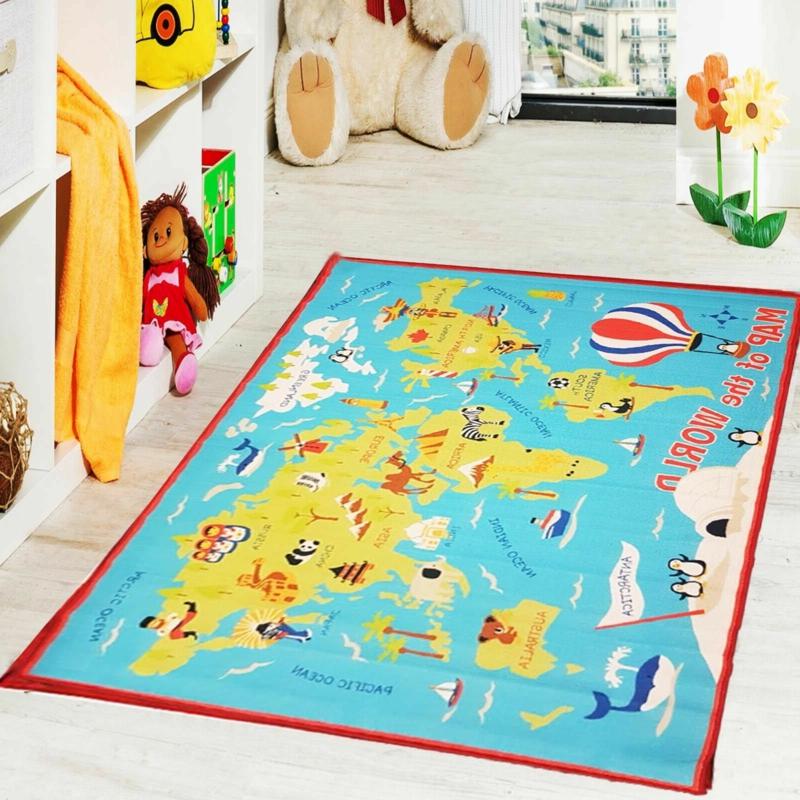 Kinderteppich bunt Weltkarte