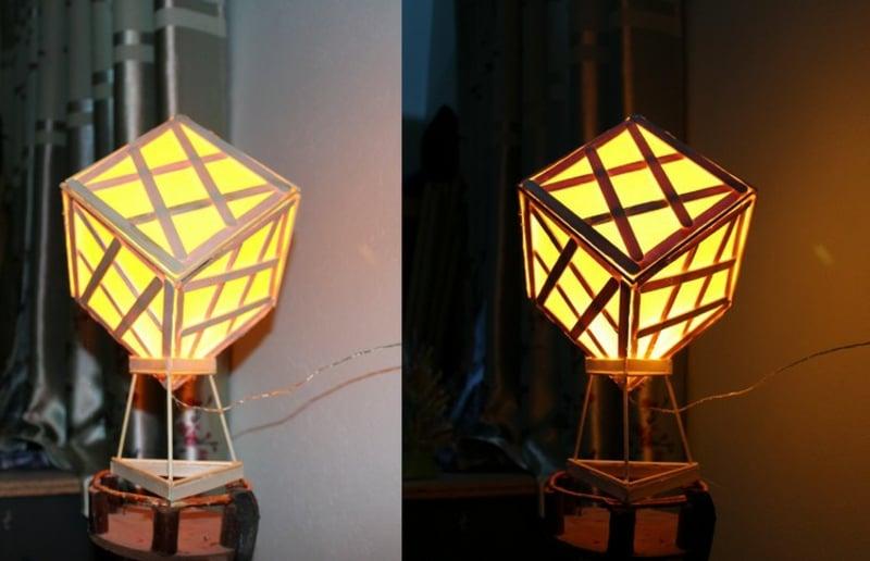 Nachttischlampe quadratisch Eisstiele und Papier