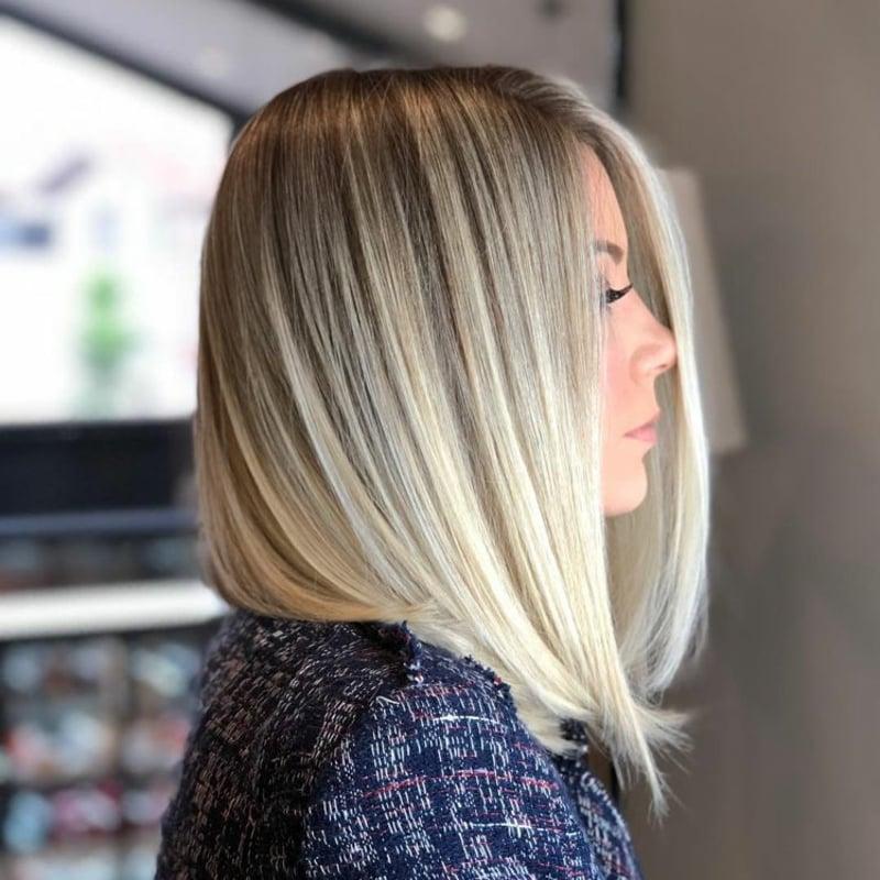 Frisuren für dünnes Haar Long Bob asymmetrisch