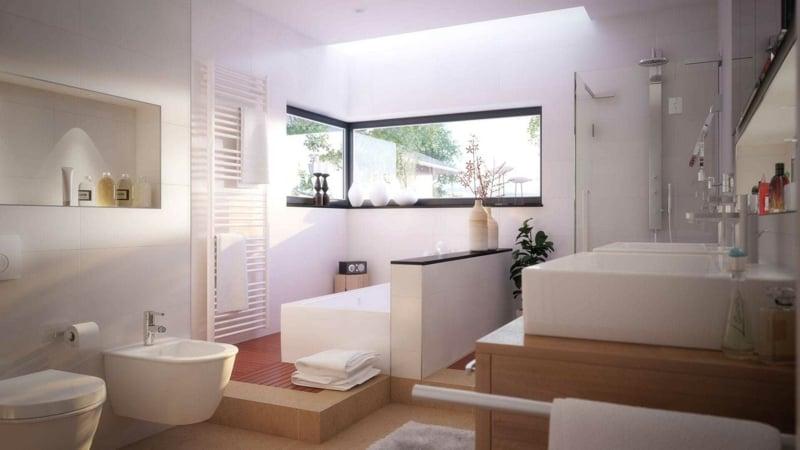 modernes Badezimmer mit Fenstern