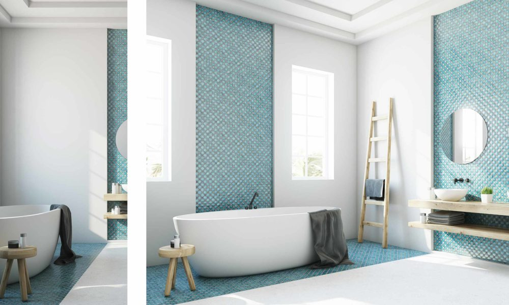 Dusche vor Fenster Bad minimalistisch modern