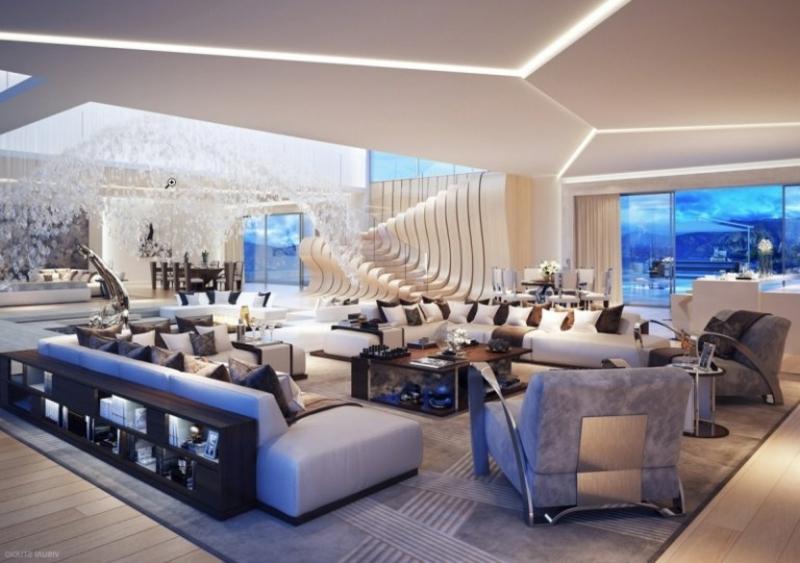 Luxus Wohnzimmer Decke Design originell indirekte Leuchten