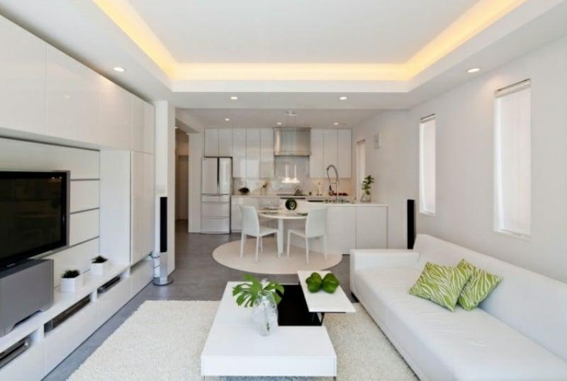 indirekte Beleuchtung Decke Wohnzimmer in Weiß