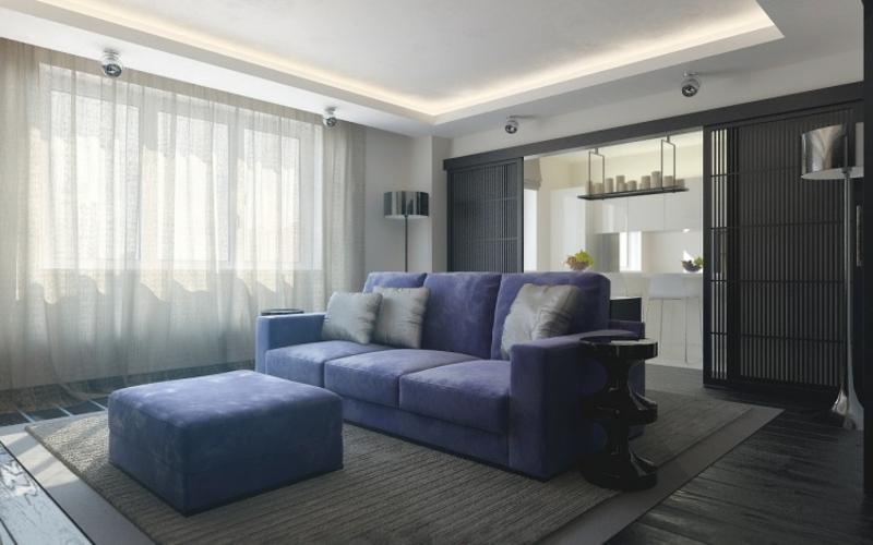 stilvolles Wohnzimmer blaues Sofa LED-Streifen