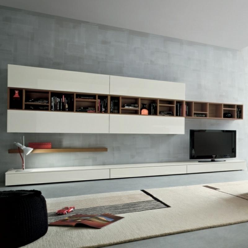 Wohnwand modern offene Regale Schränke TV Element