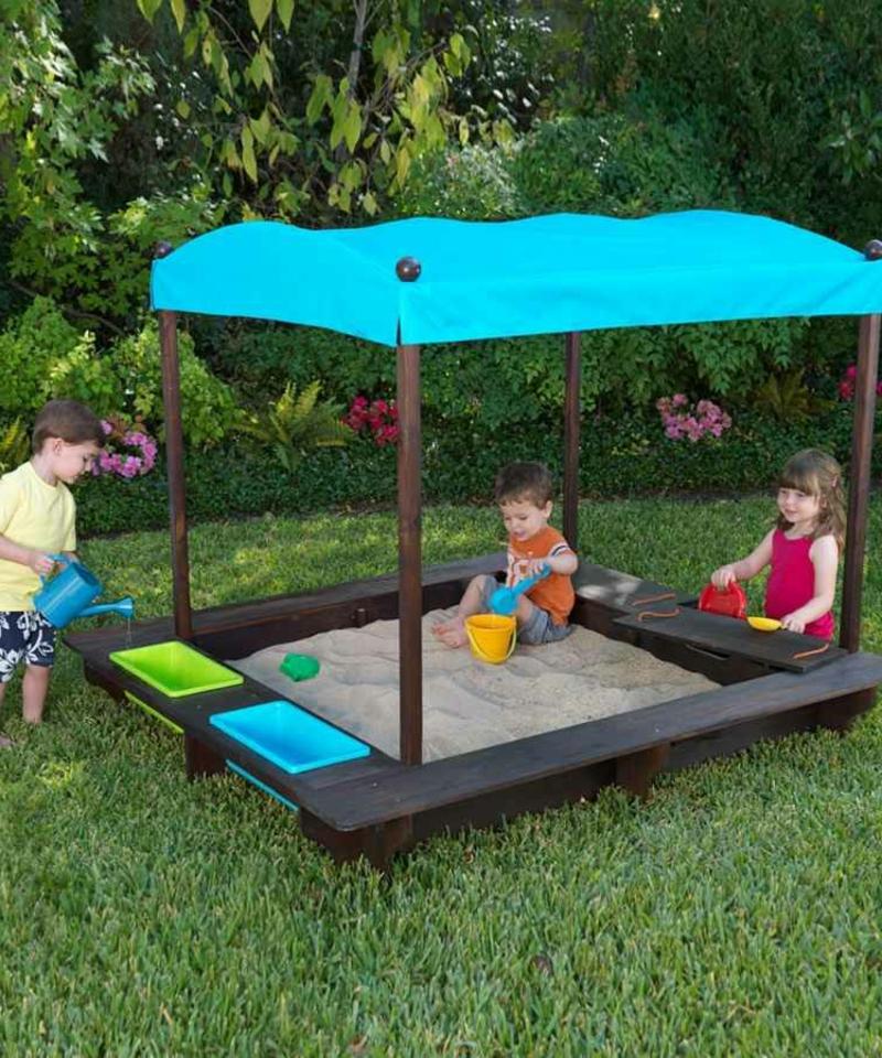 Sandkasten selber bauen Kleinkinder Spielplatz