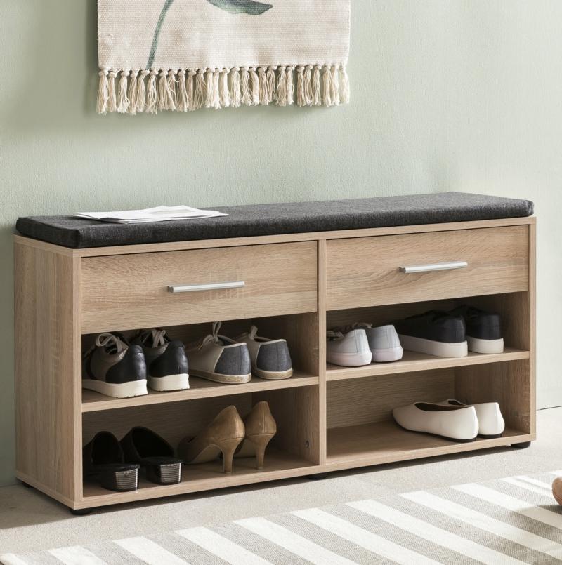 Schuhbank aus Holz zwei Schubladen