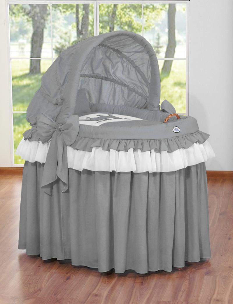 Stubenwagen graue Stoffverkleidung niedlich