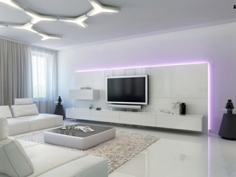 minimalistisches Wohnzimmer schick Akzentbeleuchtung Fernseher