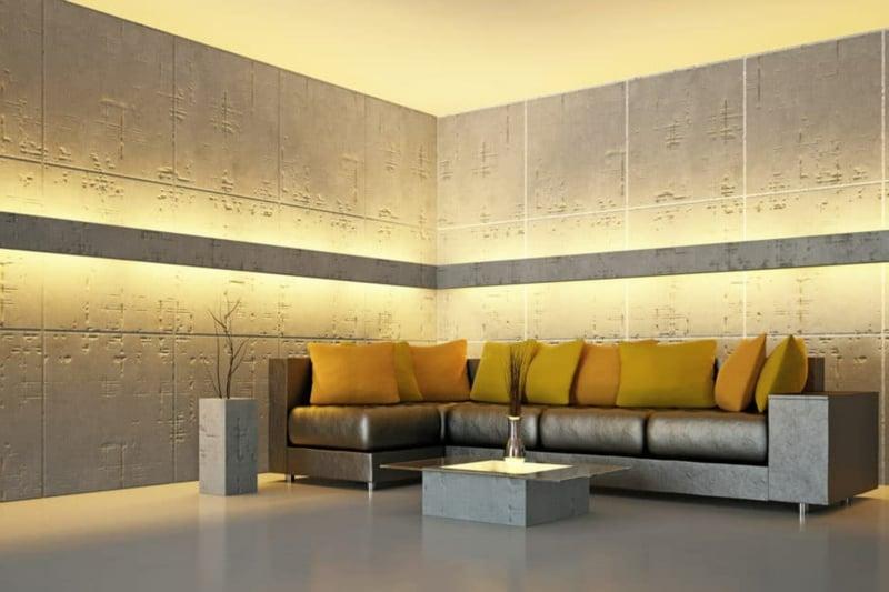 Wandbeleuchtung modernes Wohnzimmer