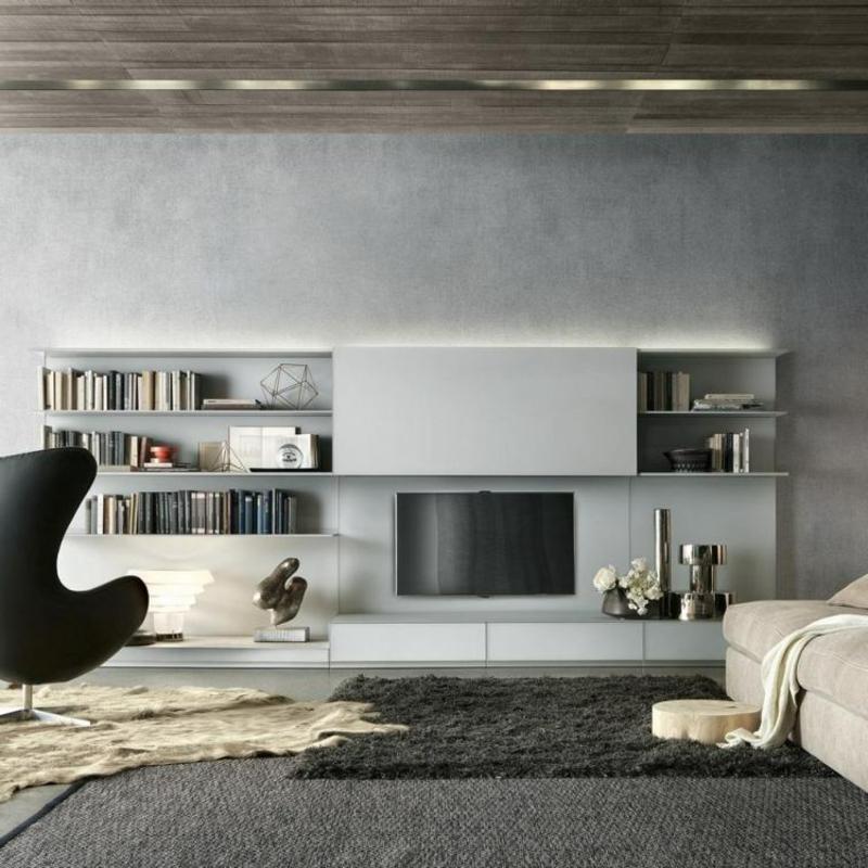 Wohnwand modern mit praktischen Bücherregalen