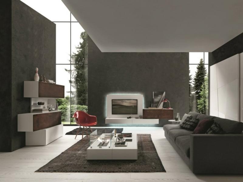 Wohnwand modern als Akzent im Wohnzimmer