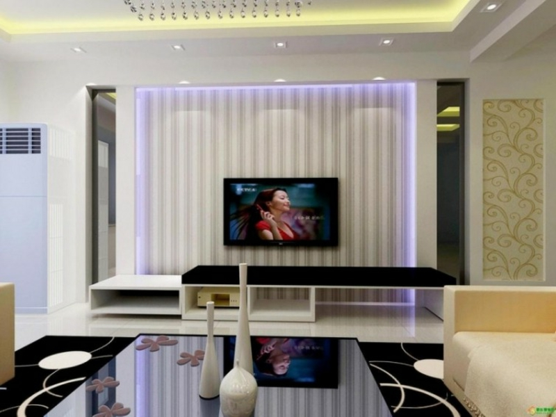 Wohnwand modern LED-Tapete cooler Look