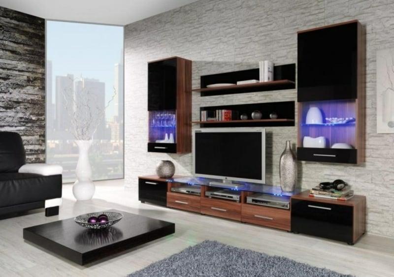 Wohnwand modern Holzschränke praktisch