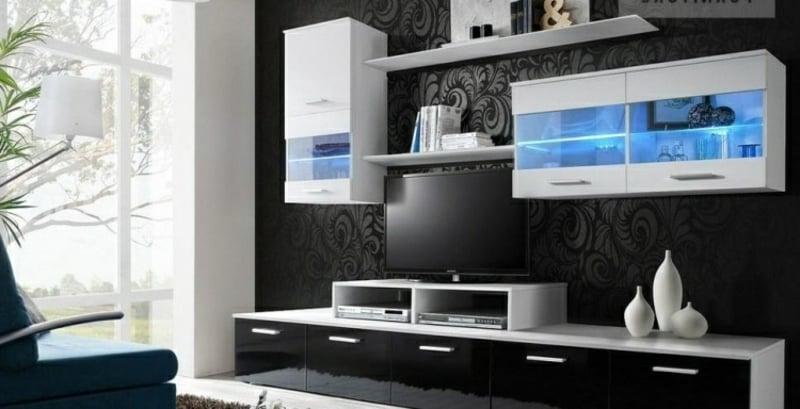 Wohnwand modern schwarz weiß stilvoller Look