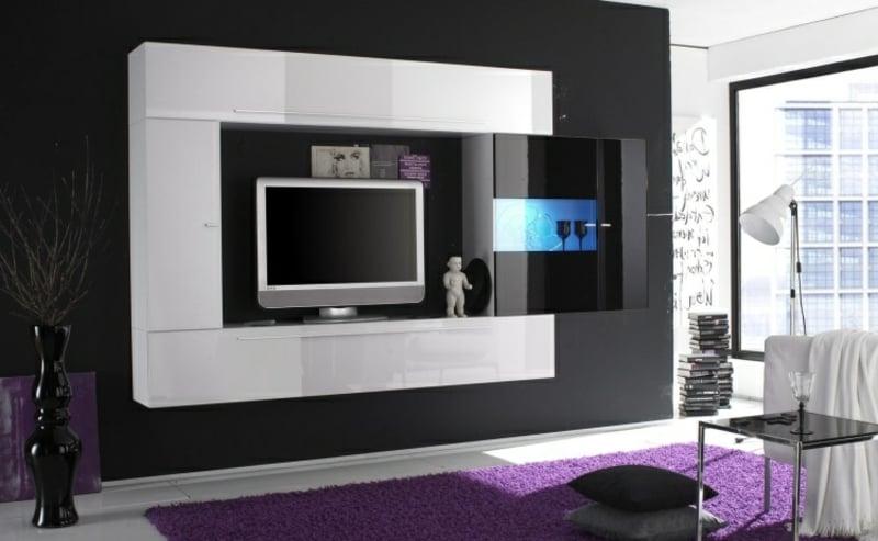 Wohnwand modern Hochglanz rechteckig