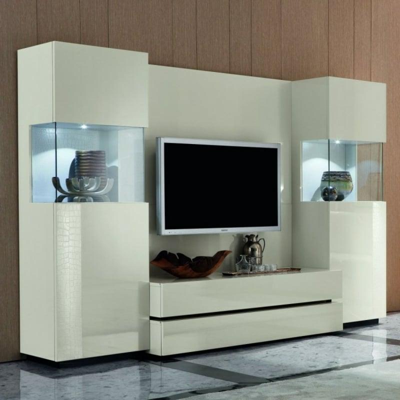 Wohnwand modern weiß Lederimitation