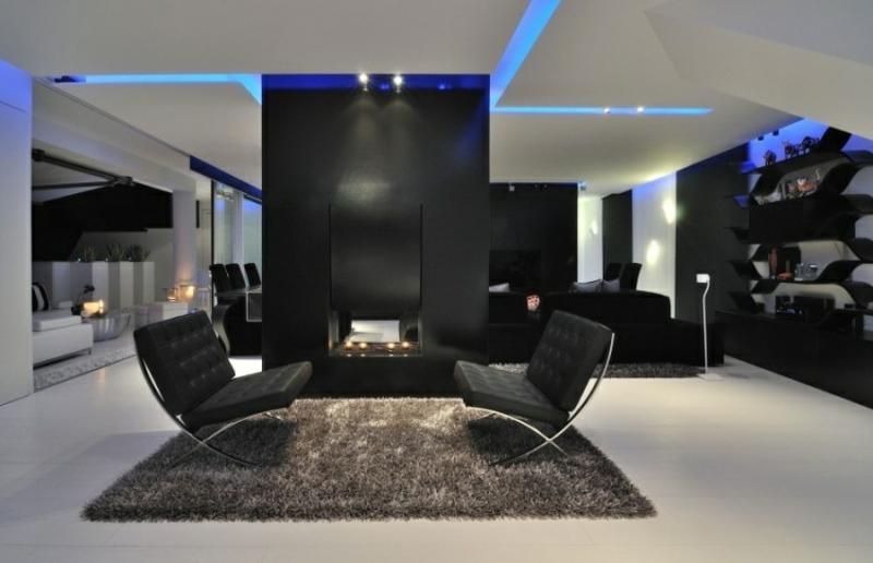 indirekte Beleuchtung Decke und Wand blau modern
