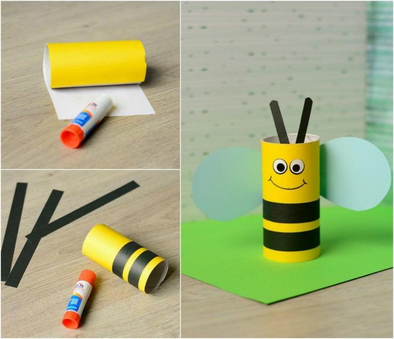 Bienen basteln aus leeren Klorollen