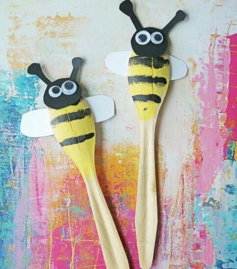 Bienen basteln Holzlöffel originell