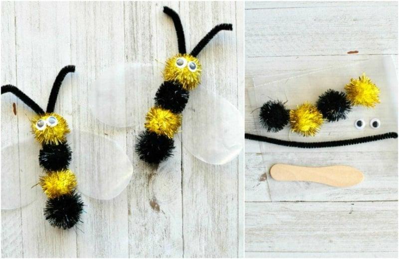 Bienen aus Pom Poms niedlich originell