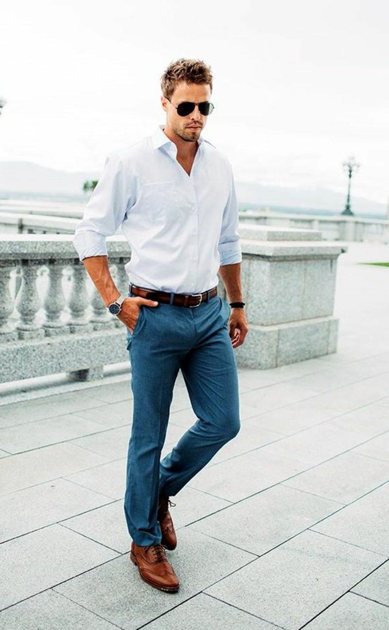 Business Casual Herren Hose mit Hemd und Gürtel