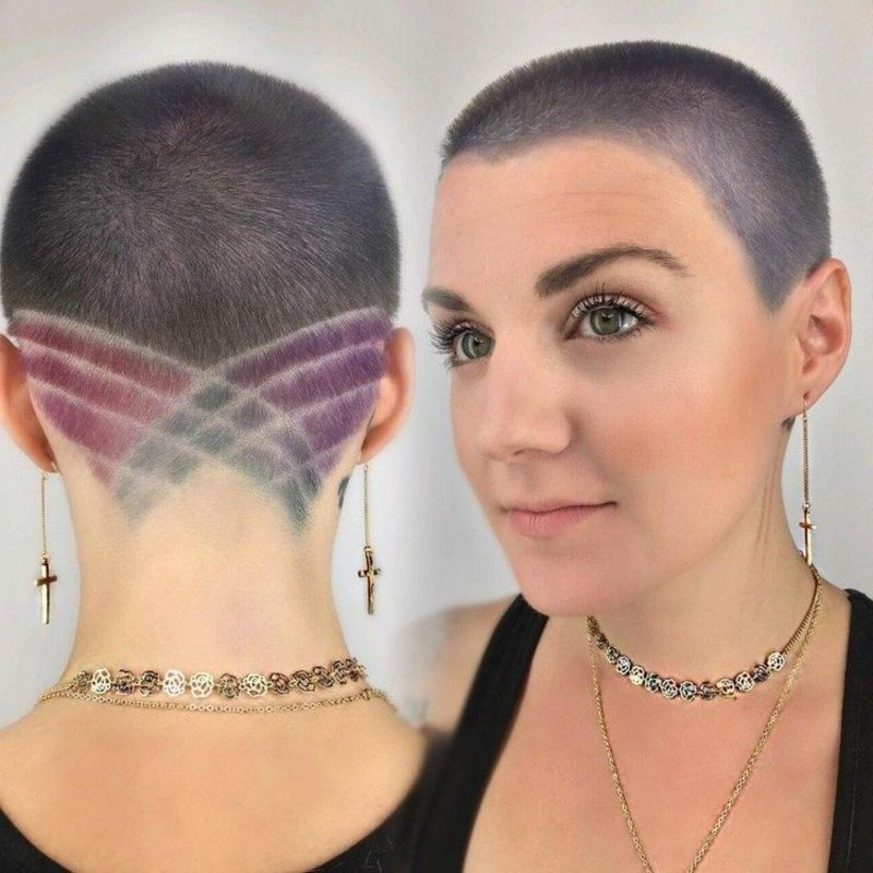 Haare kurz rasieren Frau Buzz Cut Muster